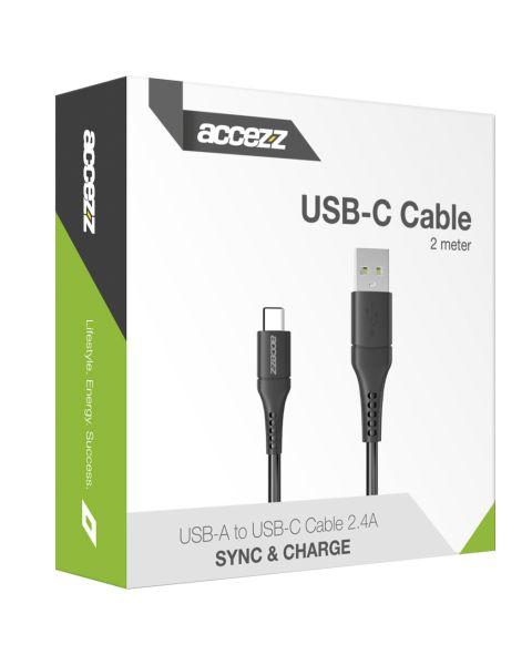 USB-C naar USB kabel - 2 meter - Zwart - Zwart / Black